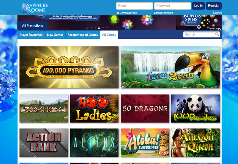 Sapphire Rooms Casino Games
